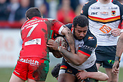 Bradford Bulls interchange Ross Peltier (17) is tackled  during the Betfred League 1 match between Keighley Cougars and Bradford Bulls at Cougar Park, Keighley, United Kingdom on 11 March 2018. Picture by Simon Davies.