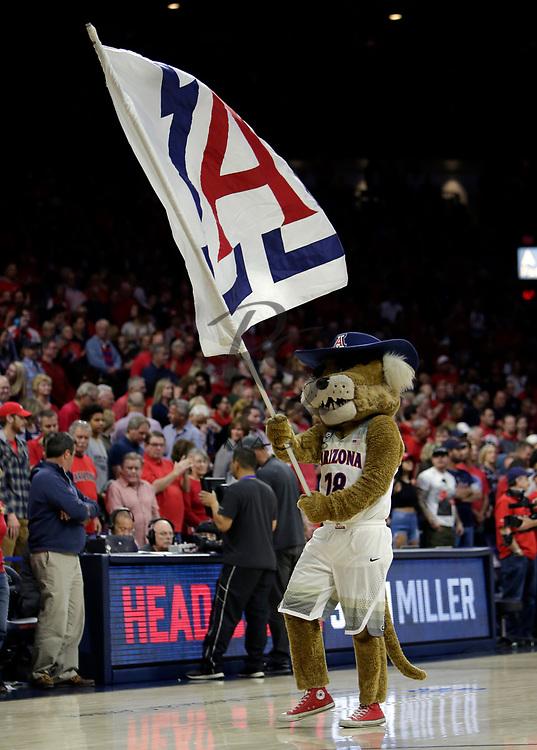 "Arizona mascot ""Wilbur"" in the first half during an NCAA college basketball game against Utah, Saturday, Jan. 27, 2018, in Tucson, Ariz. (AP Photo/Rick Scuteri)"