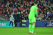 Referee Jon Moss points to Kepa Arrizabalaga (1) of Chelsea to go back to his goal as the substitution is cancellled after he refused to be substituted by Wilfredo Caballero (13) of Chelsea during the Carabao Cup Final match between Chelsea and Manchester City at Wembley Stadium, London, England on 24 February 2019.