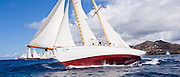 Juno sailing in the Windward Race at the Antigua Classic Yacht Regatta.
