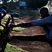 Kenyan long distance runners train in the high altitude village of Iten. The recent post-election violence in Kenya disrupted many runners' training programs, but they are now back in training for the upcoming Olympic games in China and other international events.  /// ..