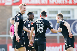 Dan Burn of Wigan Athletic celebrates with teammates after scoring a goal to make it 3-0- Mandatory by-line: Robbie Stephenson/JMP - 21/04/2018 - FOOTBALL - Highbury Stadium - Fleetwood, England - Fleetwood Town v Wigan Athletic - Sky Bet League One