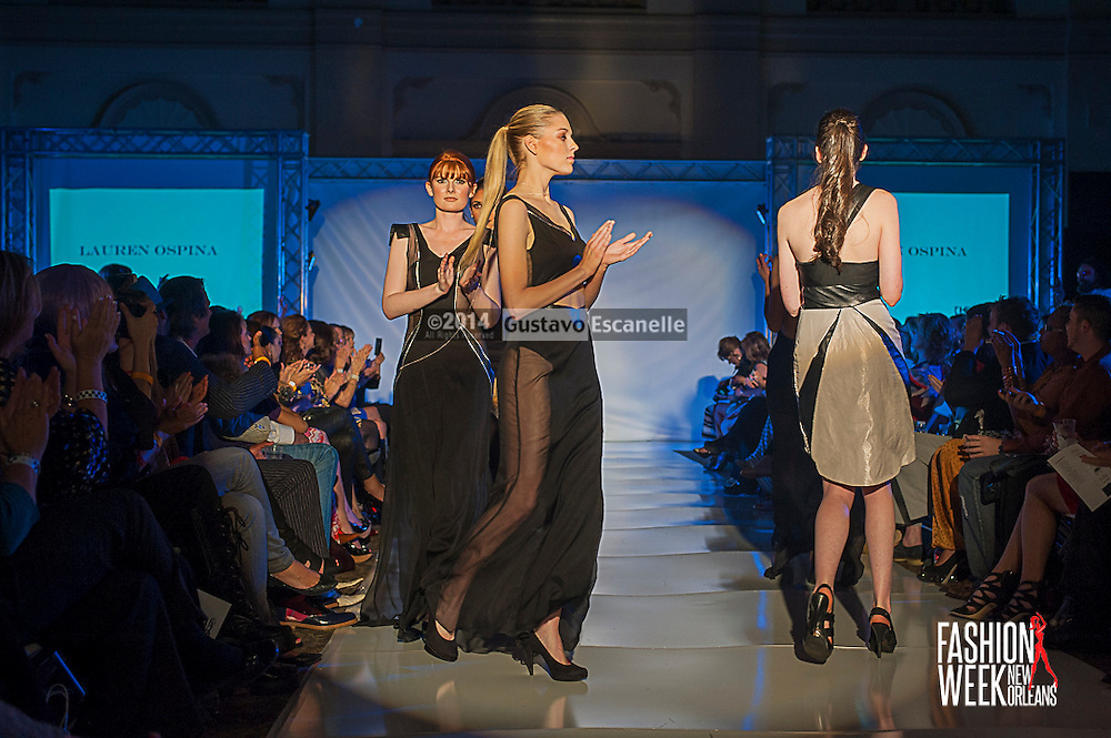 FASHION WEEK NEW ORLEANS: Designer Lauren Ospina show case her design on the runway at the Board of Trade, Fashion Week New Orleans on Wednesday March 19. 2014. #FWNOLA, #FashionWeekNOLA, #Design #FashionWeekNewOrleans, #NOLA, #Fashion #BoardofTrade, #GustavoEscanelle, #TraceeDundas #DominiqueWhite<br /> View more photos at http://Gustavo.photoshelter.com.