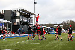Charlie Rice of Bristol Bears u18 is lifted up during a line out - Mandatory by-line: Arron Gent/JMP - 12/01/2020 - RUGBY - Allianz Park - London, England - Saracens U18 v Bristol Bears U18 - Premiership U18 Academy