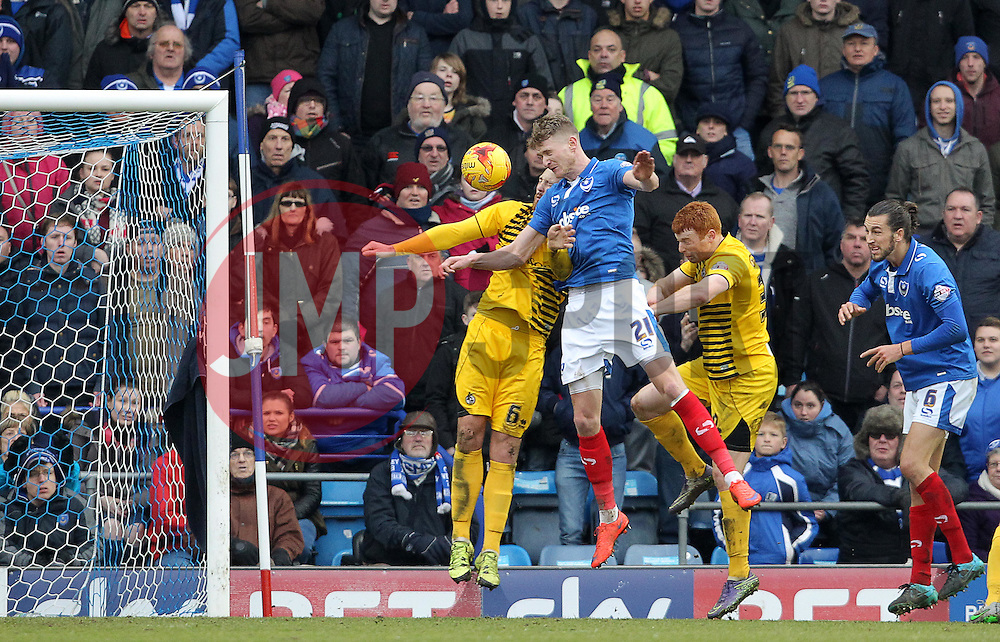Michael Smith of Portsmouth scores to make it 2-0 - Mandatory byline: Paul Terry/JMP - 13/02/2016 - FOOTBALL - Fratton Park - Portsmouth, England - Portsmouth v Bristol Rovers - Sky Bet League Two