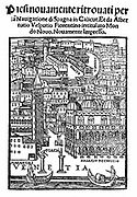 View of Venice from title page of Amerigo Vespucci 'Voyages', 1521. Authorship ascribed to either Francan or Zorzi, this edition includes Vespucci's letter to Lorenzo de Medici giving an account of his discoveries. Woodcut