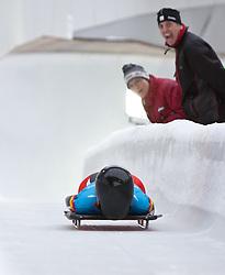 "21.01.2012, Bobbahn Igls, Innsbruck, AUT, Olympische Jugend Winterspiele, Skeleton, Damen, im Bild Silbermedaillen Gewinnerin Carina Mair (AUT) // during the Womens Skeleton of the Winter Youth Olympic Games at the ""Bob Track Igls"", Innsbruck, Austria on 2012/01/21, EXPA Pictures © 2012, PhotoCredit: EXPA/ Juergen Feichter"