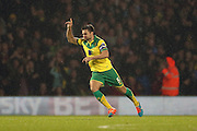 Russell Martin scores a second goal for Norwich during the Sky Bet Championship match between Norwich City and Brighton and Hove Albion at Carrow Road, Norwich, England on 22 November 2014.