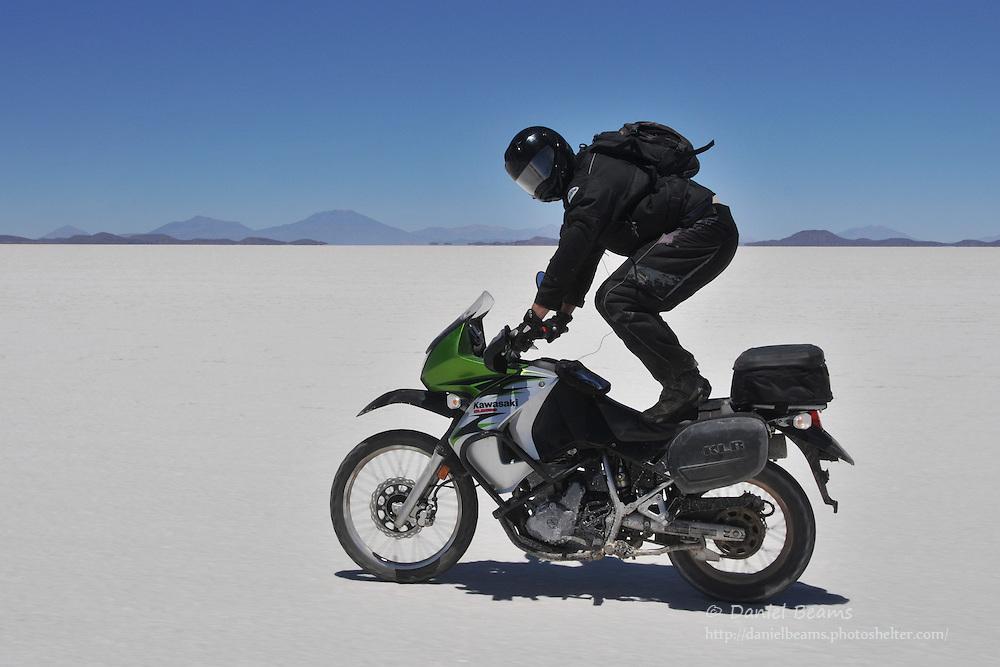 Motorcycling on the Salar de Uyuni, Bolivia