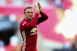 Manchester United win the FA Community Shield beating Leicester City 2-1, Wayne Rooney of Manchester United applauds the fans - Mandatory byline: Jason Brown/JMP - 07966386802 - 07/08/2016 - FOOTBALL - Wembley Stadium - London, England - Leicester City v Manchester United - FA Community Shield