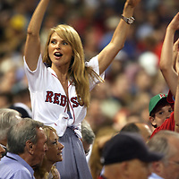 (06/01/07-Boston,MA) Yanks vs Red Sox...Game action. Here, model Christie Brinkley DOES THE WAVE AT FENWAY PARK. Photo by Mark Garfinkel.