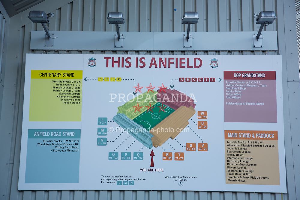 Liverpool, England - Saturday, March 3, 2007:  A map of Anfield, home of Liverpool Football Club. (Pic by David Rawcliffe/Propaganda)