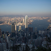 The view of Hong Kong from Victoria Peak. The tall building in Hong Kong Central is Two International Finance Centre with International Commerce Centre to the left on the mainland. 7 million people live on 1,104km square, making it Hong Kong the most vertical city in the world.