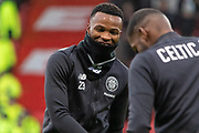 Boli Bolingoli of Celtic FC in high spirits ahead of the Betfred Scottish League Cup Final match between Rangers and Celtic at Hampden Park, Glasgow, United Kingdom on 8 December 2019.