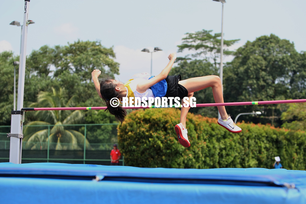 Choa Chu Kang Stadium, Friday, April 5, 2013 &mdash; Valerie Cheong of Cedar Girls&rsquo; Secondary won the B Division high jump with a leap of 1.60 metres at the 54th National Schools Track and Field Championships.<br />