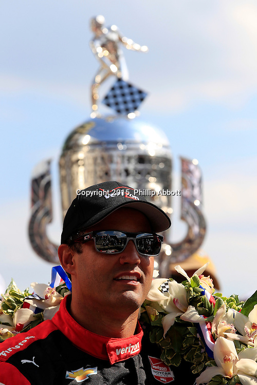 24 May, 2015, Indianapolis, Indiana, USA<br /> Juan Pablo Montoya celebrates in victory lane<br /> ©2015, Phillip Abbott<br /> LAT Photo USA