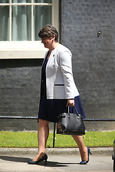 June 13, 2017 - London, London, UK - London UK. DUP leader Arlene Foster arriving at number 10 today for a meeting with Theresa May for talks on a deal to prop up a Tory minority administration. (Credit Image: © Andrew Mccaren/London News Pictures via ZUMA Wire)
