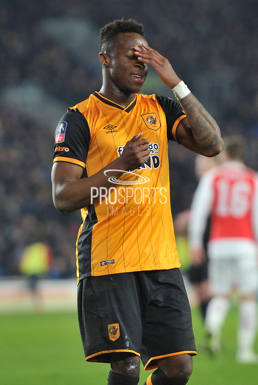 Hull City midfielder Moses Odubajo (2) in dispare at missing a shot at goal  during the The FA Cup fifth round match between Hull City and Arsenal at the KC Stadium, Kingston upon Hull, England on 8 March 2016. Photo by Ian Lyall.