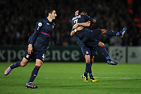 FOOTBALL - UEFA CHAMPIONS LEAGUE 2009/2010 - 1/4 FINAL - 2ND LEG - GIRONDINS DE BORDEAUX v OLYMPIQUE LYONNAIS - 7/04/2010 - JOY LYON - BASTOS - CRIS<br /> PHOTO FRANCK FAUGERE / DPPI