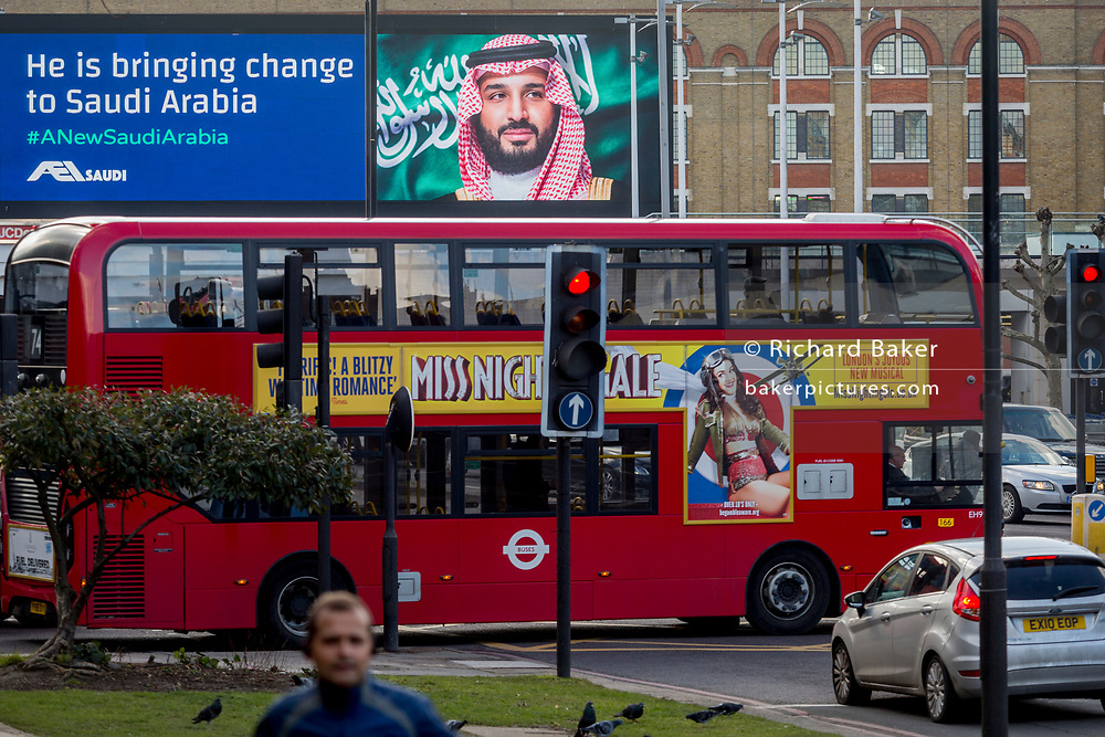 """On the first day of his official 3-day visit to London, the face of Saudi Crown Prince Mohammed bin Salman appears on a large billboard on the A4 West Cromwell Road, on 7th March 2018, in London England. Industry sources said the Saudis could be spending close to £1m on the city-wide campaign, which includes dozens of prime poster sites around London and newspaper ads. """"He is bringing change to Saudi Arabia,"""" the ads say, with a large photo of Crown Prince Mohammed bin Salman and the hashtag #ANewSaudiArabia."""