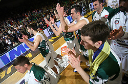Players of Union Olimpija after second semi-final match of Basketball NLB League at Final four tournament between KK Partizan Igokea, Beograd, Serbia and Union Olimpija, Ljubljana, Slovenia, on April 25, 2008, in Arena Tivoli in Ljubljana. Match was won by Partizan 94:90. (Photo by Vid Ponikvar / Sportal Images)