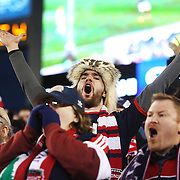 New England Revolution fans in action during the New England Revolution Vs New York Red Bulls, MLS Eastern Conference Final, second leg. Gillette Stadium, Foxborough, Massachusetts, USA. 29th November 2014. Photo Tim Clayton