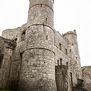 View from the courtyard of the gatehouse at Harlech Castle in Harlech, Gwynedd, on the northwest coast of Wales next to the Irish Sea. The castle was built by Edward I in the closing decades of the 13th century as one of several castles designed to consolidate his conquest of Wales.