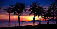 Spectacular sunrise over China Beach near Hoi An, Vietnam.