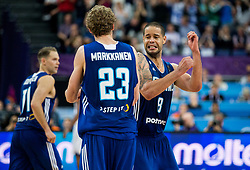 Lauri Markkanen of Finland and Gerald Lee of Finland celebrate during basketball match between National Teams of France and Finland at Day 1 of the FIBA EuroBasket 2017 at Hartwall Arena in Helsinki, Finland on August 31, 2017. Photo by Vid Ponikvar / Sportida