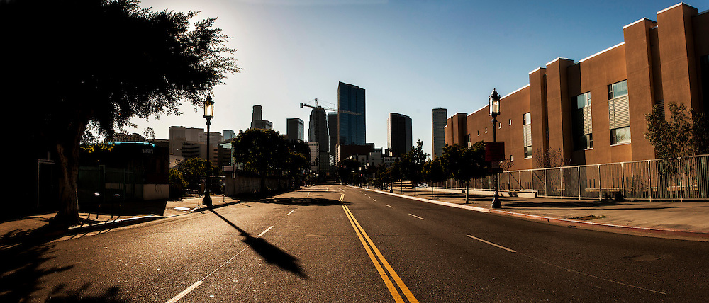 Wilshire Blvd. deserted before the CicLAvia event in LA.