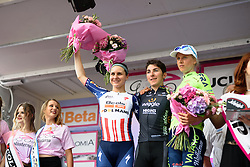 Top three on the stage: Giorgia Bronzini, Megan Guarnier, Rasa Leleivyte at Giro Rosa 2016 - Stage 1. A 104 km road race from Gaiarine to San Fior, Italy on July 2nd 2016.