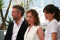 Actor Vincent Cassel, actress Emmanuelle Bercot, Director Maïwenn at the Mon Roi film photo call at the 68th Cannes Film Festival Sunday May 17th 2015, Cannes, France.