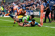 SYDNEY, NSW - MAY 19: Waratahs player Israel Folau goes in to score a try at week 14 of the Super Rugby between The Waratahs and Highlanders at Allianz Stadium in Sydney on May 19, 2018. (Photo by Speed Media/Icon Sportswire)