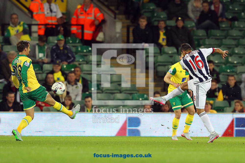 Cristian Gamboa of West Bromwich Albion has a shot on goal during the Capital One Cup match at Carrow Road, Norwich<br /> Picture by Paul Chesterton/Focus Images Ltd +44 7904 640267<br /> 23/09/2015