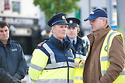 Superintendent Marie Skehill and Ciaran Hayes Galway City Council  at the removal of the occupy Galway protest  from Eyre Square Galway. Photo:Andrew Downes