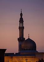 UNITED ARAB EMIRATES, DUBAI - CIRCA JANUARY 2017:  Maharba Mosque as seen from the Jumeirah Public Beach in Dubai at sunrise.