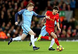 Kevin De Bruyne of Manchester City tackles Adam Lallana of Liverpool - Mandatory by-line: Matt McNulty/JMP - 31/12/2016 - FOOTBALL - Anfield - Liverpool, England - Liverpool v Manchester City - Premier League