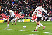 Barnsley forward Conor Chaplin (11) scores goal to go 1-0 during the EFL Sky Bet Championship match between Barnsley and Middlesbrough at Oakwell, Barnsley, England on 22 February 2020.