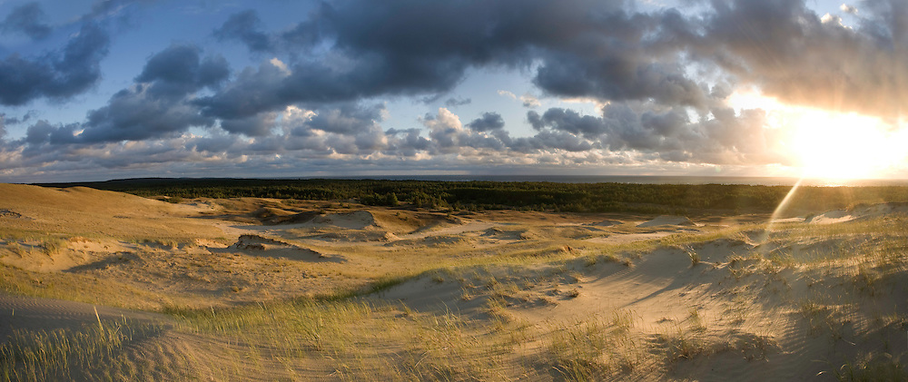 Sand dunes in evening light. Nagliai Nature Reserve, Curonian Spit. Lithuania. Mission: Curonian Spit, Lithuania, June 2009.