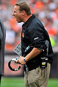 Sept. 19, 2010; Cleveland, OH, USA; Cleveland Browns head coach Eric Mangini reacts to a the ruling that his challenge was denied during the first quarter against the Cleveland Browns at Cleveland Browns Stadium. Mandatory Credit: Jason Miller-US PRESSWIRE