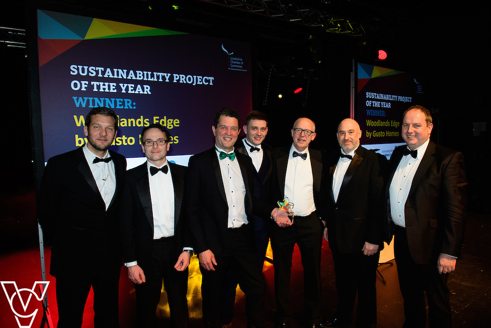 Lincolnshire Property and Construction Awards 2017.<br /> <br /> Sustainability Project of the Year - Sponsored by Anglian Water.<br /> <br /> Charlie Luxton and award sponsor Iain Amis from Anglian Water presents the award to Woodlands Edge - Gusto Homes.<br /> <br /> Picture: Chris Vaughan Photography for Lincolnshire Chamber of Commerce<br /> Date: February 7, 2017