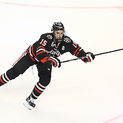 Kevin Roy #15 of the Northeastern Huskies on the ice during The Beanpot Championship Game at TD Garden on February 10, 2014 in Boston, Massachusetts. (Photo by Elan Kawesch)