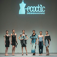 Models showcase Tsung-Chin Chiang designs on the runway during the The EcoChic Design Award 2013 by Redress as part of the Hong Kong Fall/Winter Fashion Week at the Convention and Exhibition Center in Hong Kong on 15 January 2014. Photo by Victor Fraile / studioEAST