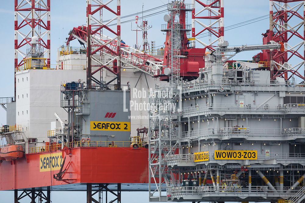 Seafox 2 Jacked up adjacent to Walney Extension Z03 substation during the construction phase of Walney Extension Offshore Wind Farm in the Irish Sea