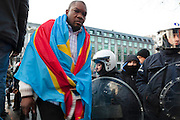 about 1000 supporters of  Tshisekedi having a anti-Kabila protest in the heart of Brussels, ending in chaos and arrests.
