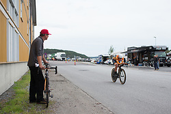 Chantal Blaak (NED) whizzes past Boels-Dolmans Cycling Team mechanic Richard Steege during the prologue of the Ladies Tour of Norway - a 3.4 km time trial, starting and finishing in Halden on August 17, 2017, in Ostfold, Norway. (Photo by Balint Hamvas/Velofocus.com)