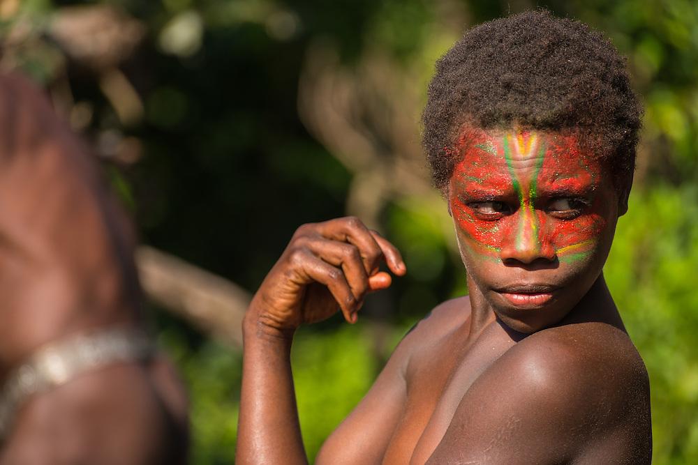 Girl with a painter face, Tannah, Vanuatu.