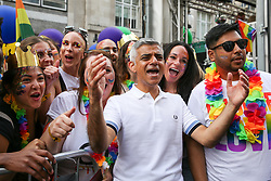 © Licensed to London News Pictures. 06/07/2019. London, UK. Mayor of London Sadiq Khan with the participants at the Pride in London Parade. An estimated over 1 million people lined along the route in support of the LGBT (Lesbian, Gay, Bisexual and Transgender/Transsexual) community. Photo credit: Dinendra Haria/LNP