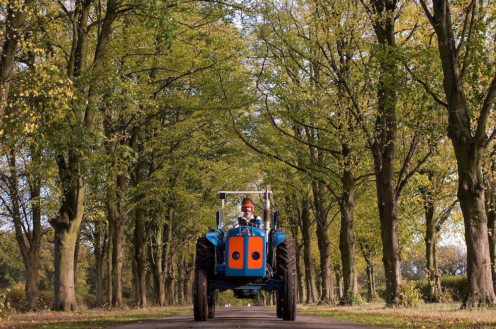 Ray Thorne driving vintage Fordson major to extract timber.