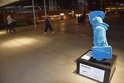 Paddington Bear statue by the canal near Paddington Station, London UK August 2018